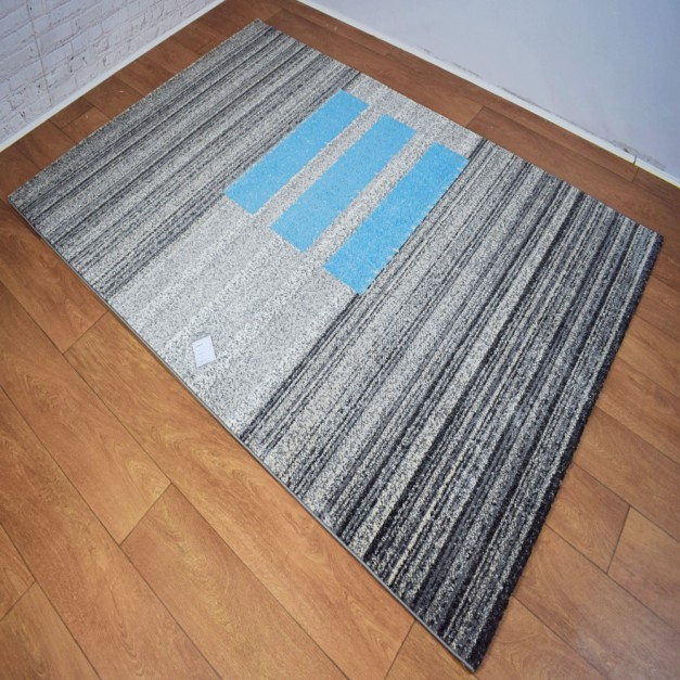 Modern Shapes Horizontal Lines Dark Grey and Blue Area Rug