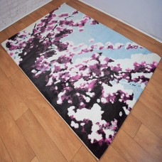 Large Floral Blossom Pink and White Area Rug