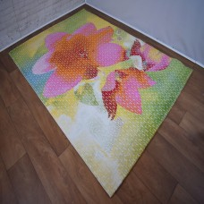 Abstract Large Floral Pink and Green Area Rug