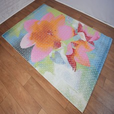 Abstract Large Floral Pink and Blue Area Rug