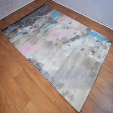 Abstract Dark Grey and Rose Pink Area Rug