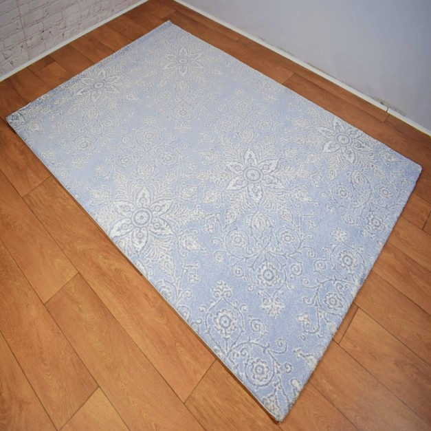 Modern Floral Blue and Grey White Area Rug