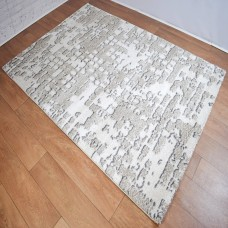 Graphic Modern White and Beige Area Rug