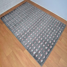 Contemporary Shapes Dark Grey and Rust Red Area Rug