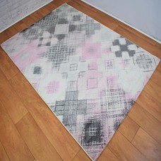 Modern Geometric Shapes Cream and Pink Area Rug
