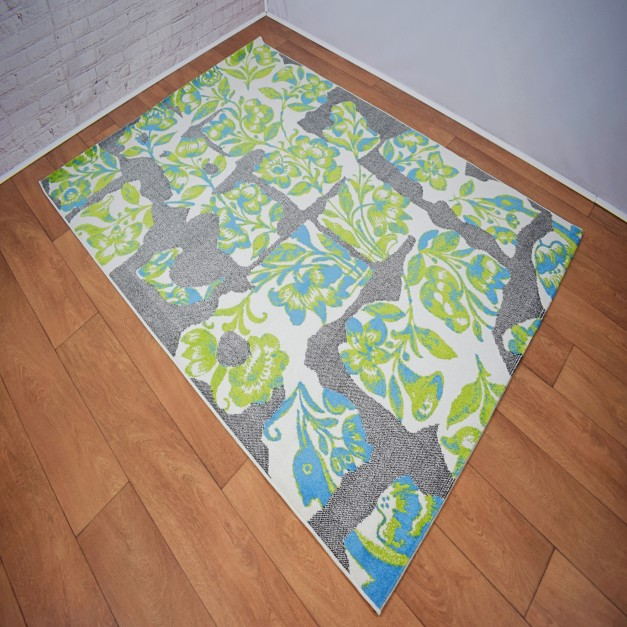 Abstract Floral Green/Grey and White Area Rug
