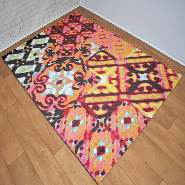 Modern Distressed Medallion Black and Orange Multi Area Rug