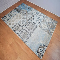 Modern Geometric Trellis Blue and Grey Area Rug