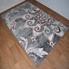 Modern Large Madalas Light and Dark Grey with Red Area Rug