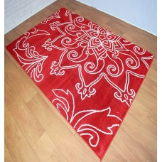 Modern Large Madalas Red and White Area Rug