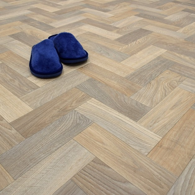 Andalusia Warm Oak Herringbone Effect Vinyl