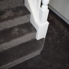 Amber Soft Touch Light Black Silver Twist Pile Carpet Runner